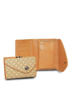 Beige - Medium Wallet w/ Clasp