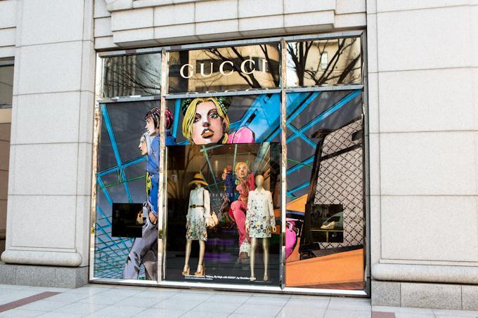 Gucci Window Display - Japanese Designer Hirohiko Araki