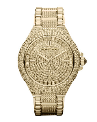 Michael Kors Golden Stainless Steel Camille Three-Hand Glitz Watch