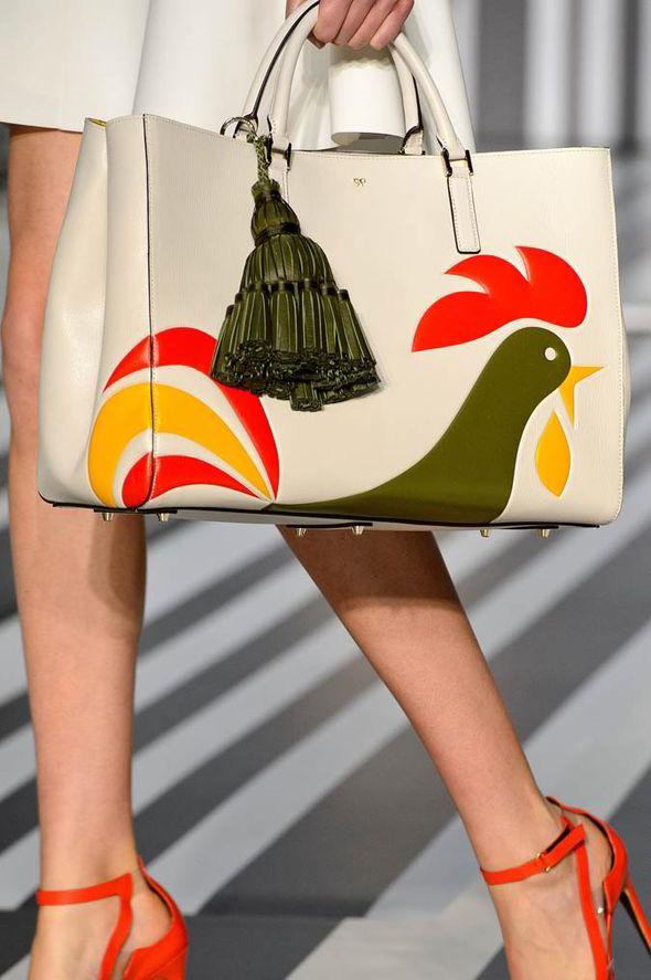 Anya Hindmarch Vintage Inspired Rooster Motif Tote Bag