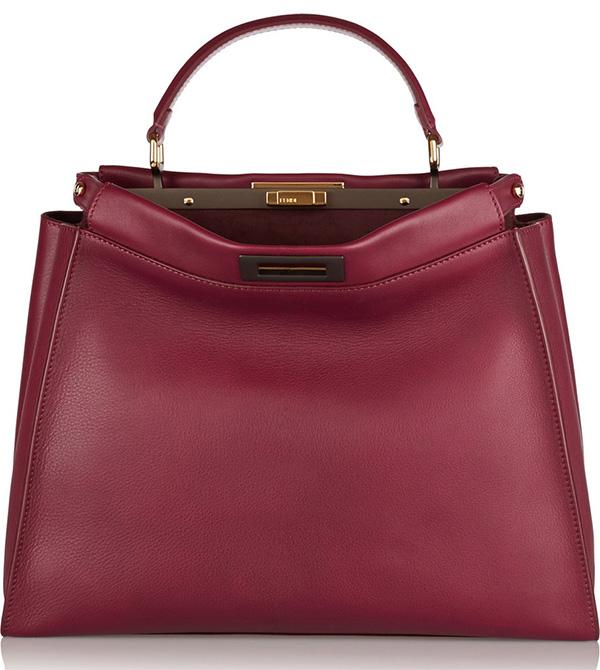 Burgundy Fendi Peekaboo Bag