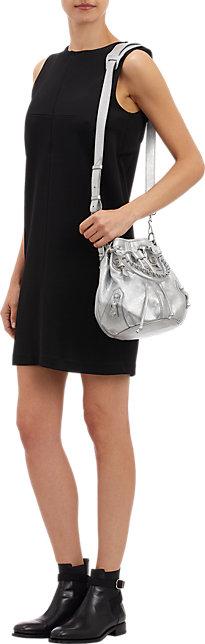 Silver Balenciaga Arena Giant 12 Mini Pompon Bucket Bag