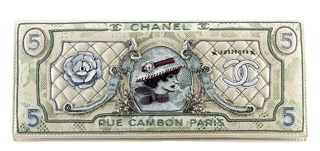 Chanel Embroidered Money Clutch